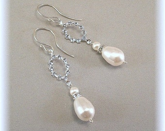 White Pearls, Dainty Rhinestone Pearl Earrings, Wedding Day Rhinestone and White Pearl Drop Earrings, Dainty Chandelier Rhinestone Earrings