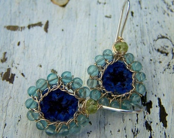 Azurite Geode,Apatite, Peridot  sterling silver  hook style, earrings