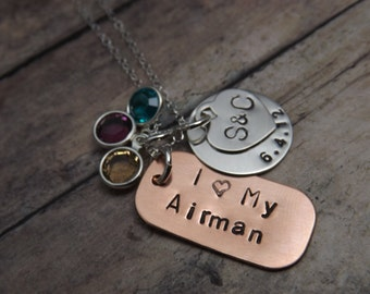 Hand stamped jewelry-personlized-copper-sterling silver-military love necklace-airforce-army-navy-coastguard-marines