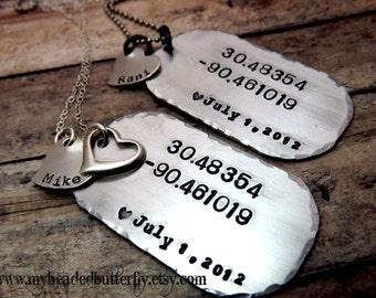 handstamped-personalized necklace-sterling silver-aluminum- dog tag-GPS coordinates-men-womans-set