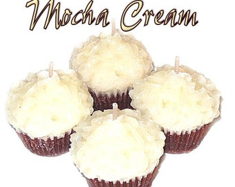 4 Mocha Cream Cupcake Candle Minis Coffee Chocolate Scented Votives