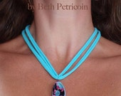 Aqua Pink Black Necklace - bright colors, upcycled t-shirt necklace polymer clay pendant