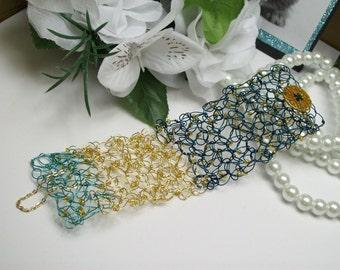 Wire Crochet Beaded Cuff Bracelet Teal. Gold and Turquoise, Wire Crochet Cuff, Beaded Wire Crochet, Wire Bracelet, Wire Cuff
