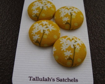 Special Listing for Katherine   Wearable Sew On Fabric Covered Buttons - Size 36  7/8 inches White Flowers on Yellow