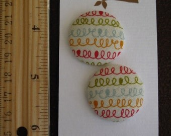 """Wearable Sew On Fabric Covered Buttons - Size 45 or 1 1/8"""" Squiggles"""