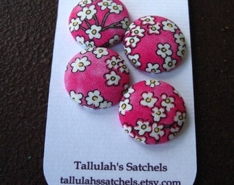 Wearable Sew On Fabric Covered Buttons - Size 36 or  7/8 inches Cherry Blossoms