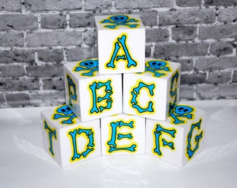 ABC Blocks Blue/Yellow Skull N Bones Rockin' Blocks Goth Punk Rock Baby Blocks Alphabet Letters