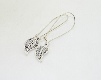 Antique silver filigree leaf dangle earrings, fall, Autumn, jewelry