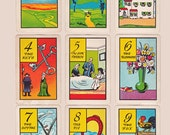 old gypsy fortune telling cards, complete set of 36 on 4 pages, printable digital downloads