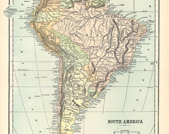 map of  South America from 1904, printable digital map no. 1009.
