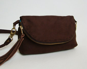 Russet Brown Suede 3-in-1 Bag, small suede cross-body bag, clutch, or large wallet
