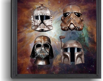 Nebula 4 STar Wars Helmet Framed Limited Edition Canvas Print