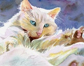 Persian Cat Art Print of my Watercolor Painting Huge Big Gift for a girl cat lover Giclée White