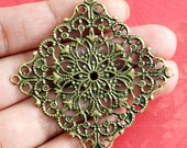 20pcs 40mm Antique Bronze Filigree Diamond Wrap Patchs  R0146-AB