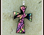 Dichroic Glass Hand Etched Cross Pendant   Rock of Ages 13-08