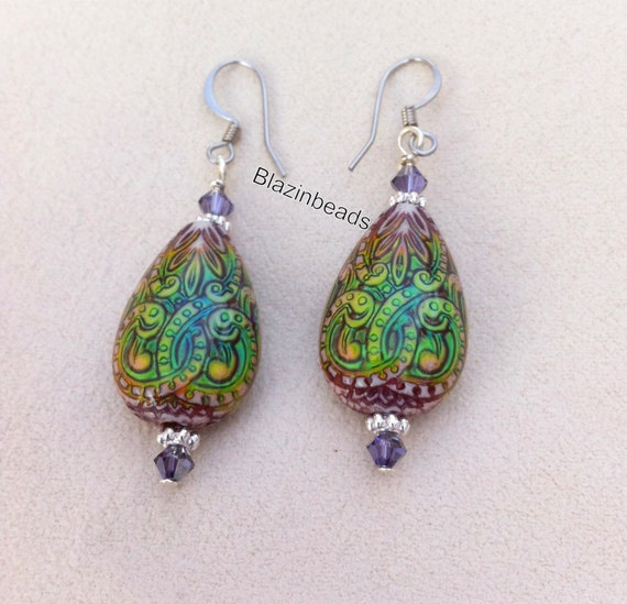 chagne colored earrings mood bead earrings color changing mirage 7454