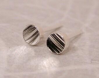 4mm Modern Rustic Studs Wood Grain Earrings Sterling Silver Jewelry by SARANTOS