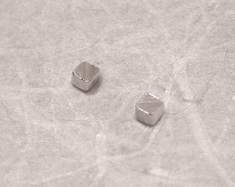 2mm Itty Bitty Teeny Tiny Square Studs Sterling Silver Post Earrings in Wood Grain by SARANTOS