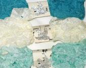 Seam Binding - Crinkle Ribbon - 18 YARDS - Teal - Ivory , Bias Tape  - Aqua - PACIFICA - Crinkled