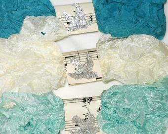 Seam Binding - Crinkle Ribbon - 18 YARDS - Teal Seam Binding - Ivory Seam Binding , Bias Tape  - Aqua Seam Binding - PACIFICA - Crinkled