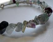 Rocky in Rainbow Fluorite - Silver and Gemstone Wire-wrapped bracelet