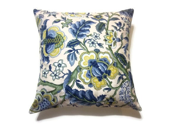 Items Similar To Decorative Pillow Cover Blue Yellow White