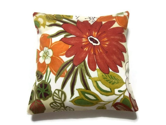Decorative Pillow Cover One  Red Orange Olive Green Mustard Yellow Floral Design  Multicolored  Toss Throw Accent Cover 18x18 inch