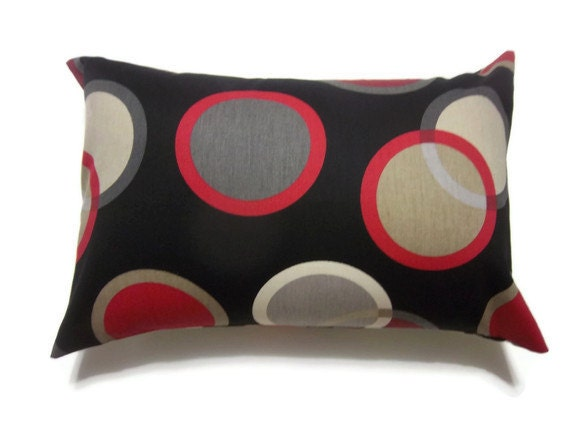One Black White Red Gray Taupe Lumbar Pillow Cover Decorative