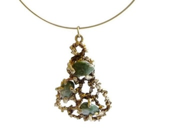 1970s Brutal Gold and Agate Necklace