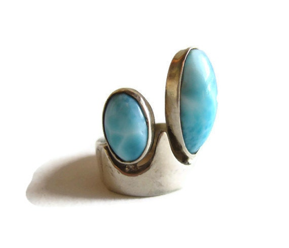 1960's Modernist Silver Ring with Larimar Stones