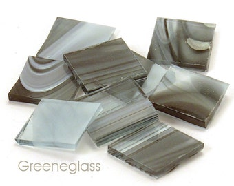 Black on White Baroque Glass for Mosaics and Stained Glass - Reg Pack - Diamond, Triangles, Rectangles, Squares, Strips