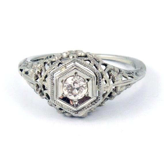 18k antique art deco 1920s diamond filigree engagement ring. Black Bedroom Furniture Sets. Home Design Ideas