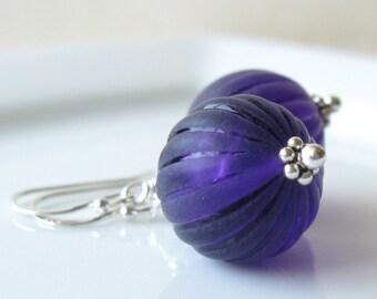 Royal Purple Earrings Mintage Lucite in sterling silver