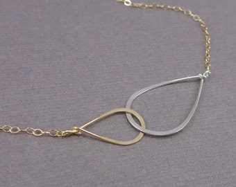 Two Tone Infinity Necklace, Gold and Silver  Infinity Eternity Necklace, Mixed Metals Infinity Necklace