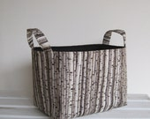 Storage Organization Fabric Organizer  Bin Container Basket.- Forest of Birch Trees - Choose the Inside/ Lining Fabric Color