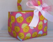 Easter Candy Egg Hunt Fabric  Basket - Yellow Peeps Chicks - PERSONALIZED/ Name Tag Available - See Note in Listing