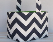Easter Fabric Basket Candy Bucket Egg Hunt -Navy Blue/ White Chevron ZigZag Fabric - PERSONALIZED/ Name Tag Available - See Note in Listing