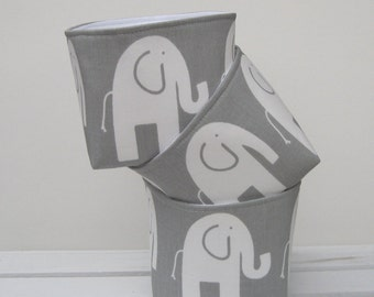 Mini Fabric Storage Container Organizer Bins - Set of 3 -  White Ele Elephant on Gray