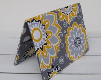Passport Holder Travel Holiday Cover Case - Gray Yellow White Flowers