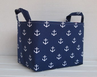 Storage and Organization  - White Anchors on Navy Blue - Fabric Organizer Bin Storage Container Basket