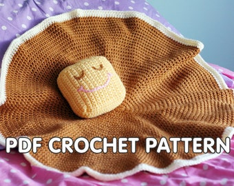PDF Crochet Pattern - Pancake Lovey - security blanket with butter pillow