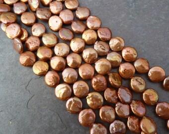 Dark Copper Coin Pearls, Copper Freshwater Pearls, 20% Off, Copper 12mm Coin Pearls, 12mm Copper Coin Pearls, 1 Strand, PC108