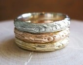 Gold Twig womens band YOUR CHOICE white rose yellow wood grain 14kt 3mm ring Made to Order