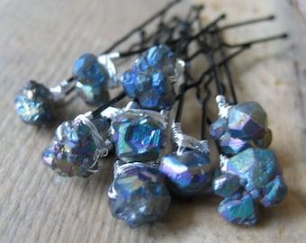 Quartz SEAPUNK iridescent TITANIUM coated Crystal Bridal Hairpins 10 peices