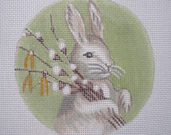 Handpainted Needlepoint Canvas Bunny with Cotton twigs