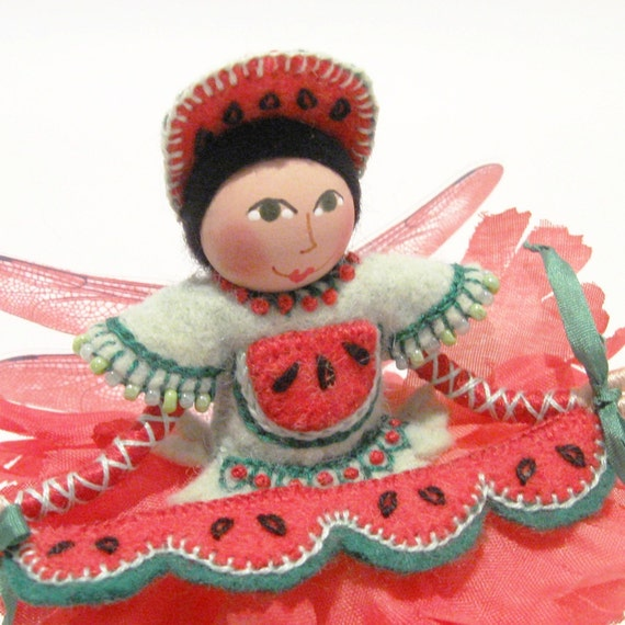Watermelon Fairy Art Doll, Miniature, Hand Embroidered with Watermelon Garland