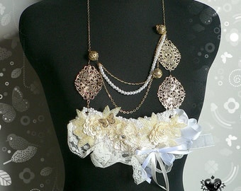 SALE 60% off - Opulent White Lace and Gold bricolage statement necklace