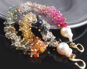 CUSTOM Made to Order - 14k Yellow Gold and Sapphire Bracelet with Saltwater Akoya Pearls