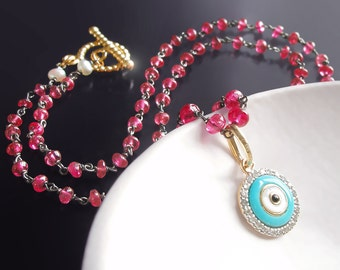 Custom Made to Order - Evil Eye Necklace with Red Spinel, 14k Diamond and Enamel Charm