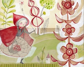 little red riding hood -  art print - girl in cape - 8 x 8 inch limited edition archival... away she went by cori dantini
